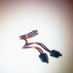 Hematite Bead Wire Ear Cuff - Right Ear