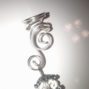 Curly Silver Wire Ear Cuff - Right Ear