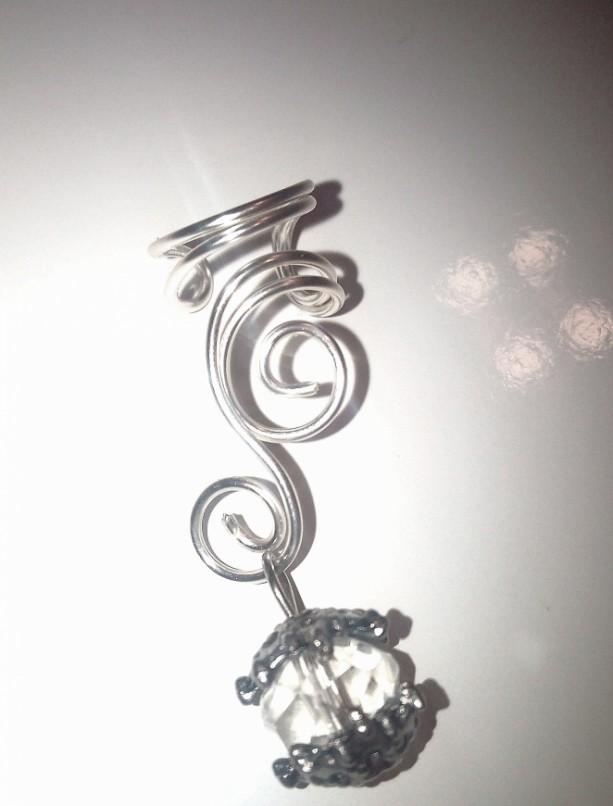 Curly Silver Wire Ear Cuff - Right Ear