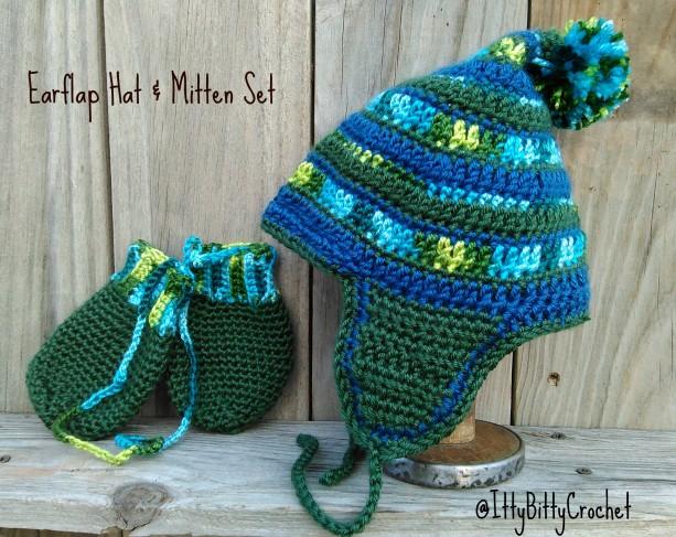 Earflap Hat & Mitten Set