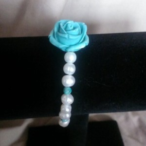 pearl and turquoise rose bracelet