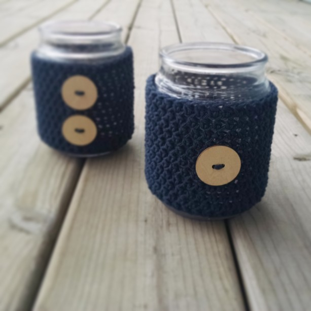 Set of 2 Crochet Candle Cozies with Wooden Accent Buttons [Large], Large Crochet Candle Cozy, Crochet Candle Cozy, Mother's Day Gift