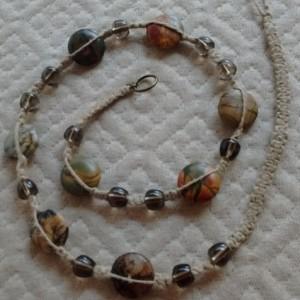 Agate beaded macrame necklace, headband or wrap bracelet - made with natural hemp