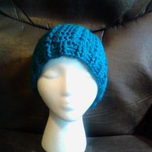 Handmade Crochet Teal Puff Hat