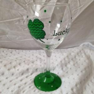 Shamrock St. Patricks Day Lucky Hand Painted Wine Glass