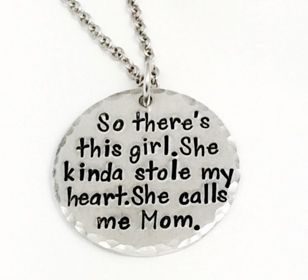 "Hand Stamped ""This Girl"" pendant with 22"" Stainless Steel Chain"