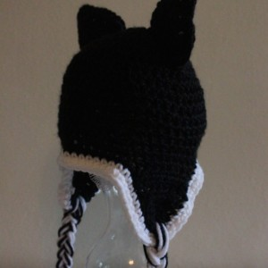 Black and White Cat Earflap Hat
