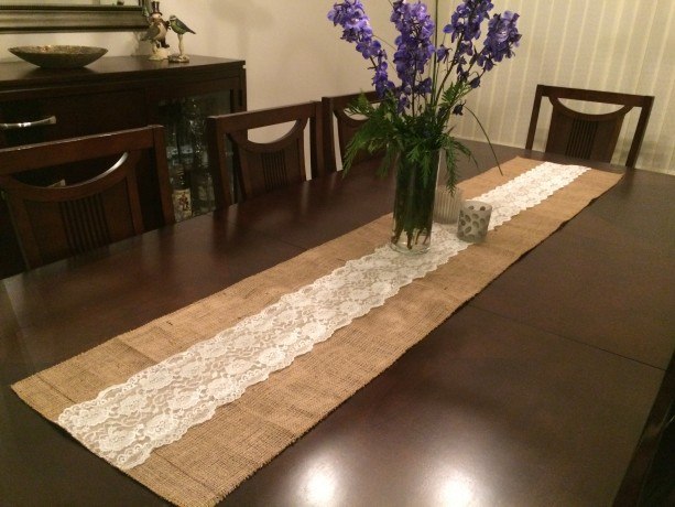 Lovely ... Burlap And Lace Table Runners 108 Inches Long