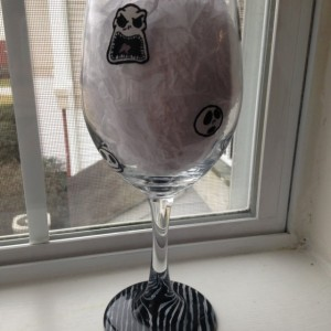 Jack Skellington Nightmare Before Christmas Hand Painted Wine Glass