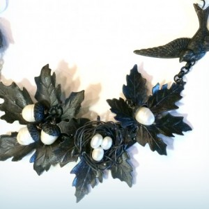 Black and Pearl, Leaf and Bird Assemblage Nacklace