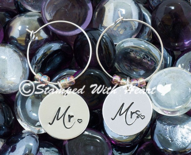 Mr. and Mrs. Custom Hand-Stamped Metal Wine Glass Charms