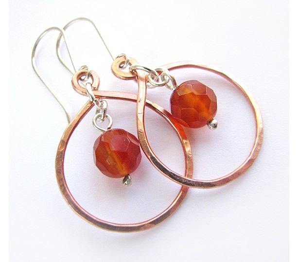 Copper Loop Earrings with Carnelian Faceted Bead and sterling silver