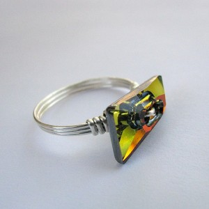 Swarovski Crystal  Sterling Silver Ring