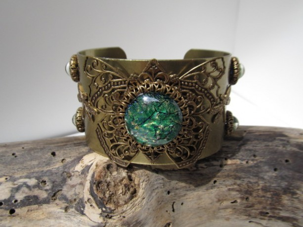 Large Brass Filigree and Green Glass Opal Cuff *35% off* (Was $65)