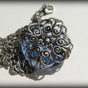 Filigree Wrapped Sapphire Faceted Stone Necklace *30% off* (Was $22)