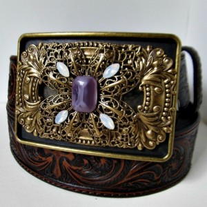 Brass Filigree Vintage Inspired Rectangle Belt Buckle *35% off* (Was $50)