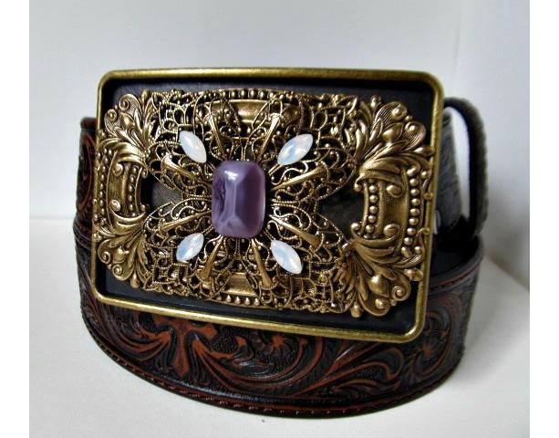 Brass Filigree Vintage Inspired Rectangle Belt Buckle *35% off* (Was $50)