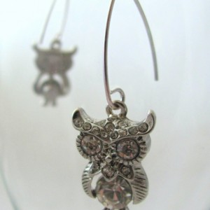Rhinestone Encrusted Owl Earrings