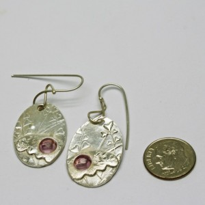 Butterfly Wing Earrings Fine Silver Pink Sapphire Handmade Sterling Artisan Ear Wires