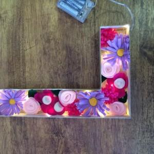 12 inch light up floral letters, pink flower stuffed nightlight, girls nightlight, handmade felt flowers, light up letters, marquee letters, girls bedroom decor, pink home decor
