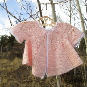 40s Style Pale Pink Baby Sweater