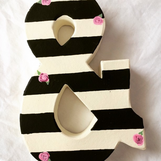 Black And White Striped Letters With Tiny Pink Roses Any Letter Ampersand Decor