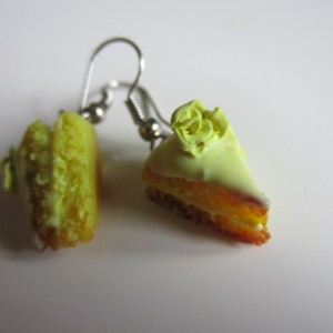 Miniature Iced Lemon Cake Slice Earrings