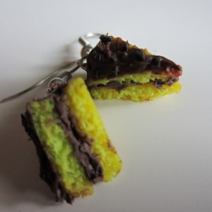Miniature Chocolate and Yellow Cake Slice Earrings