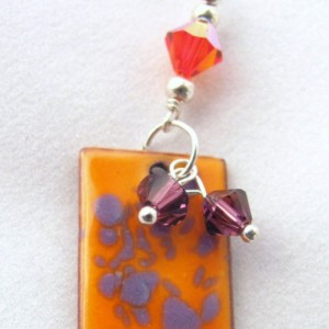 Grapes Over Orange County Sterling Enamel Earrings C Koop