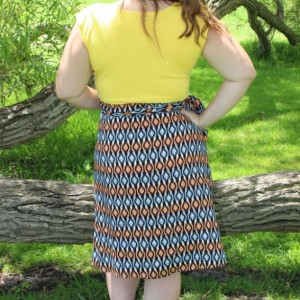 Large Julie wrap dress with yellow top and patterned skirt