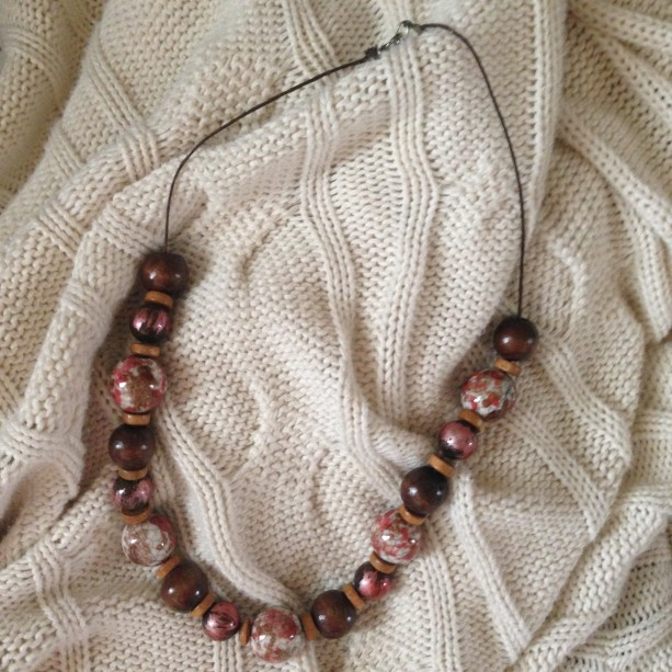 wooden and bead necklace