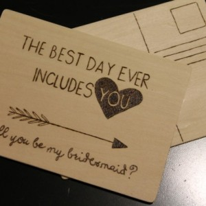 Wood Postcard Bridesmaid Invite