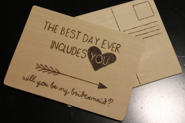 Wood Postcard Bridesmaid Invite