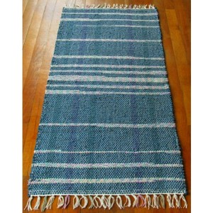 Handwoven Rag Rug Runner - Turquoise/teal with pink, blue, yellow, & green / Eco-Friendly, upcycled
