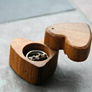 Heart Shaped Wood Ring Box- Handmade and Hand Engraved