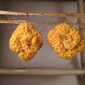 Rosette Earrings - Yellow