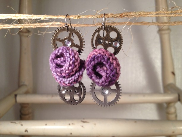Steampunk Rosette Earrings - Purple