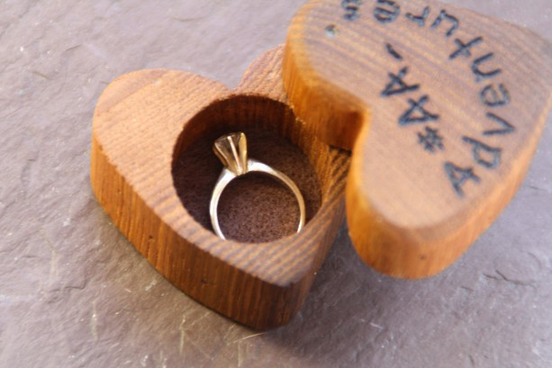 heart shaped wood ring box
