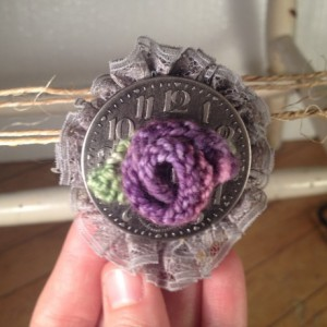 Steampunk Rosette Pin - Purple