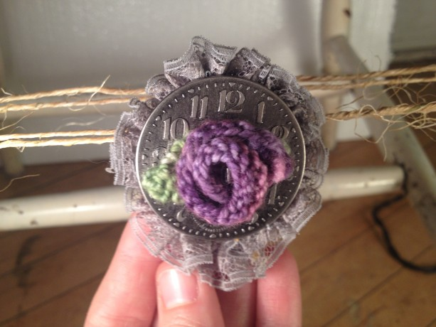 Steampunk Rosette Pin - Purple