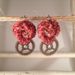 Steampunk Rosette Earrings - Cinnamon