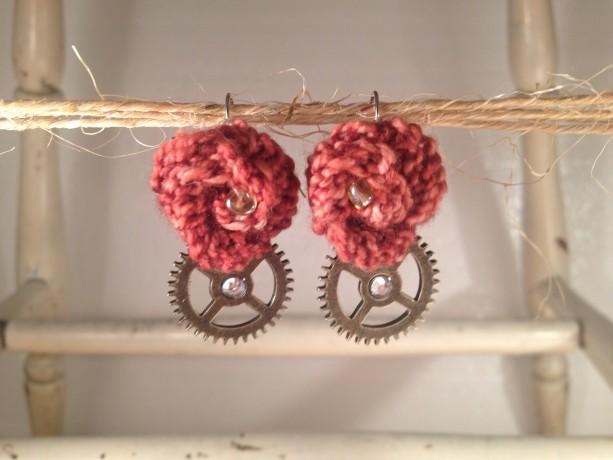 Steampunk Rosette Earrings - Cinnamon