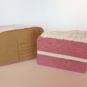 3D Strawberry Cake Postcard
