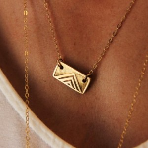 Tribal Pendant Necklace. Solid Bronze Wood Block Hand Stamped Jewelry