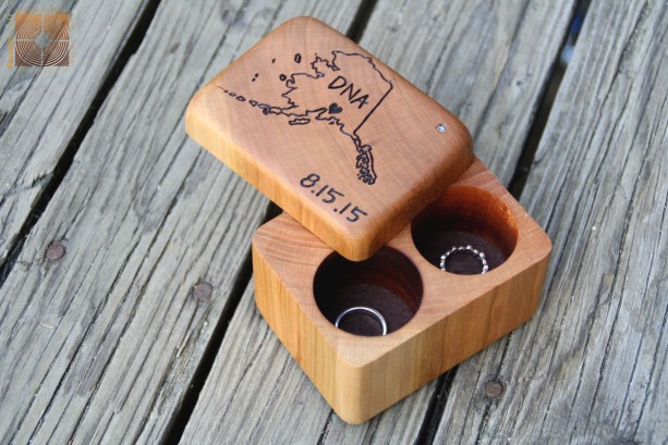 Double Wood Ring Box- Handmade & Hand Engraved