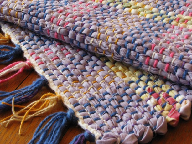 Rag Rug - Lavender, yellow, sage green / Handwoven / Eco-Friendly, upcycled