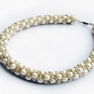 White Beaded Pearl Necklace-Choker