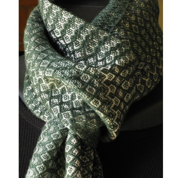 Scarf - Forest green, sage & shell beige / Handwoven / Eco-Friendly Tencel