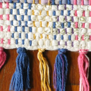 Rag Rug - Ivory, lavender, lilac, olive / Handwoven / Eco-Friendly, upcycled