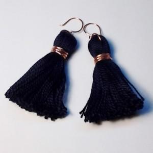 Navy Blue Tassel Earrings